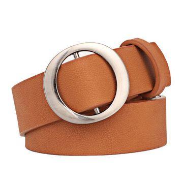 Nueva moda coreana sin agujero hebilla redonda señoras cinturón simple salvaje retro moda casual cinturón ancho NHPO211233