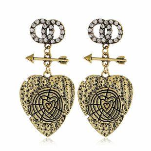 New fashion earrings peach heart sweet diamond earrings wholesale NHVA211247's discount tags