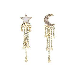 New fashion trend wild earrings alloy stars moon asymmetric earrings NHVA211250's discount tags