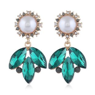 Korean new fashion resin flowers simple branches rhinestone pearl earrings wholesale NHVA211251's discount tags