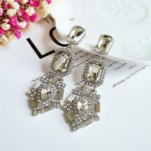 New fashion exaggerated diamond long earrings wholesale NHVA211253's discount tags