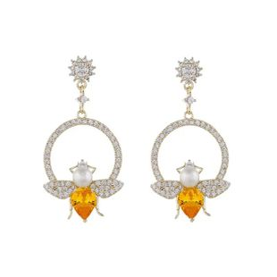 Korean new fashion simple alloy pearl insect earrings wholesale NHVA211254's discount tags
