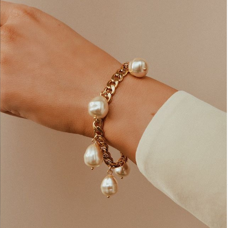 Customized products fashion alloy bracelet pearl bracelet yiwu nihaojewelry wholesale NHMD211639's discount tags
