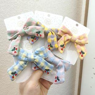 Children's hair accessories hairpin Korean bow top clip girl cherry bangs clip lattice headdress wholesale NHSA211361's discount tags
