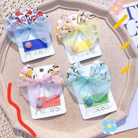 New large bow color mesh hairpin hair accessories candy color children's side clip girls hair accessories NHSA211363's discount tags