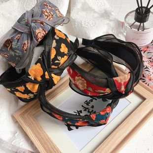 New retro ink painting printing top knot fight yarn simple wild headband NHHI211369's discount tags