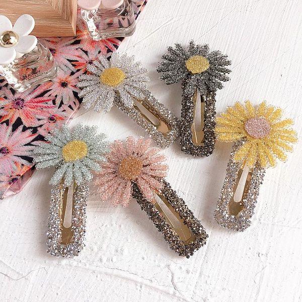 Fashion Crystal Daisy Wild Simple Square BB Clip Liuhai Clip Side Clip Hair Accessories Headdress NHHI211371