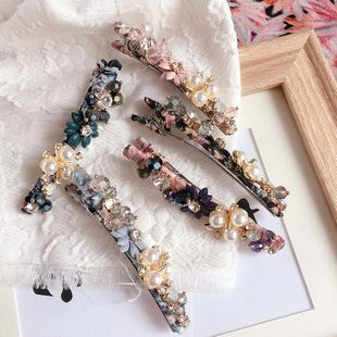 New Korea retro floral bead flower crystal hand-wound simple word clip clip sea clip hair accessories wholesale NHHI211373's discount tags