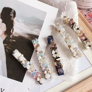 Korean new floral bead flower crystal handmade fish wire money winding wild pressure clip spring clip hair ornament headdress NHHI211374's discount tags