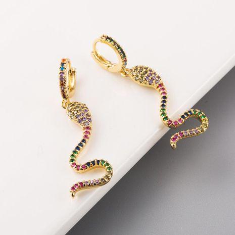 Boucles d'oreilles en forme de serpent de nouvelle mode incrustées de boucles d'oreilles longues en or 18 carats plaqué cuivre zircon coloré NHLN211391's discount tags