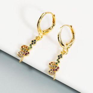 New fashion snake-shaped long earrings creative zircon rainbow earrings wholesale NHLN211393's discount tags