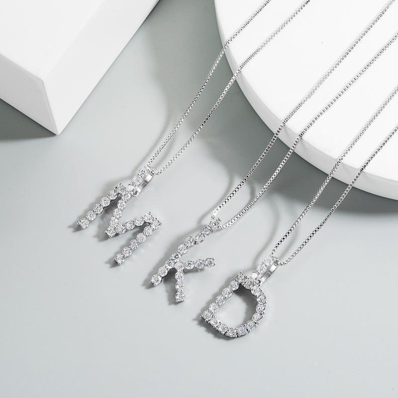 Korean new simple super flash letter necklace female copper plating white gold zircon necklace wholesale NHLN211395