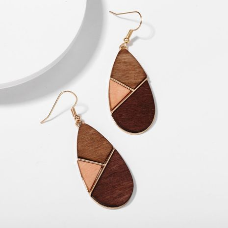 New fashion geometric wood stitching contrast color earrings retro simple brown earrings wholesale NHPJ211404's discount tags