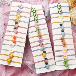 Cute cartoon rubber band children student head rope fashion hair rope hair ring girl hair accessories nihaojewelry wholesale NHPJ211405's discount tags