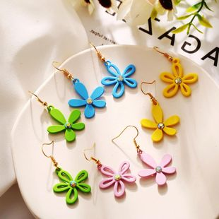 Korean new fashion asymmetric daisy earrings wholesale nihaojewelry NHPJ211406's discount tags