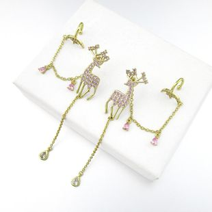 New deer long tassel earrings pink Xingyue ear bone clip dual-use silver needle earrings wholesale NHLJ211417's discount tags