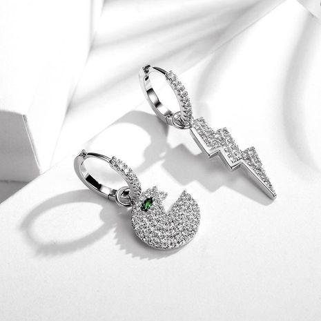 New fashion lightning asymmetric earrings micro-set zircon hypoallergenic earrings wholesale NHLJ211419's discount tags