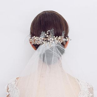 European and American wedding personality headdress handmade pearl mesh yarn flower alloy flower crystal hairpin bridal jewelry custom NHHS211422's discount tags