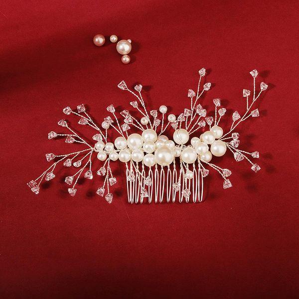 Simple wedding jewelry crystal pearl handmade crystal hair comb bridal headdress wholesale NHHS211435