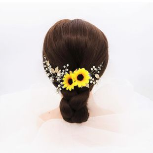 New fashion sun flower daisy hair band handmade glass rhinestone bride head jewelry NHHS211440's discount tags