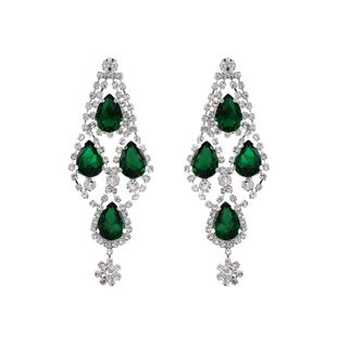 New fashion green gems exaggerated earrings wholesale NHHS211442's discount tags