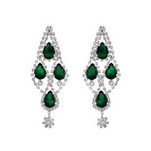Nueva moda gemas verdes pendientes exagerados al por mayor NHHS211442's discount tags