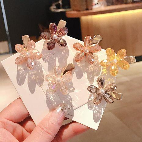 Korean crystal flower hairpin hairpin side clip fashion bangs clip small flower clip hair accessories NHDQ211450's discount tags