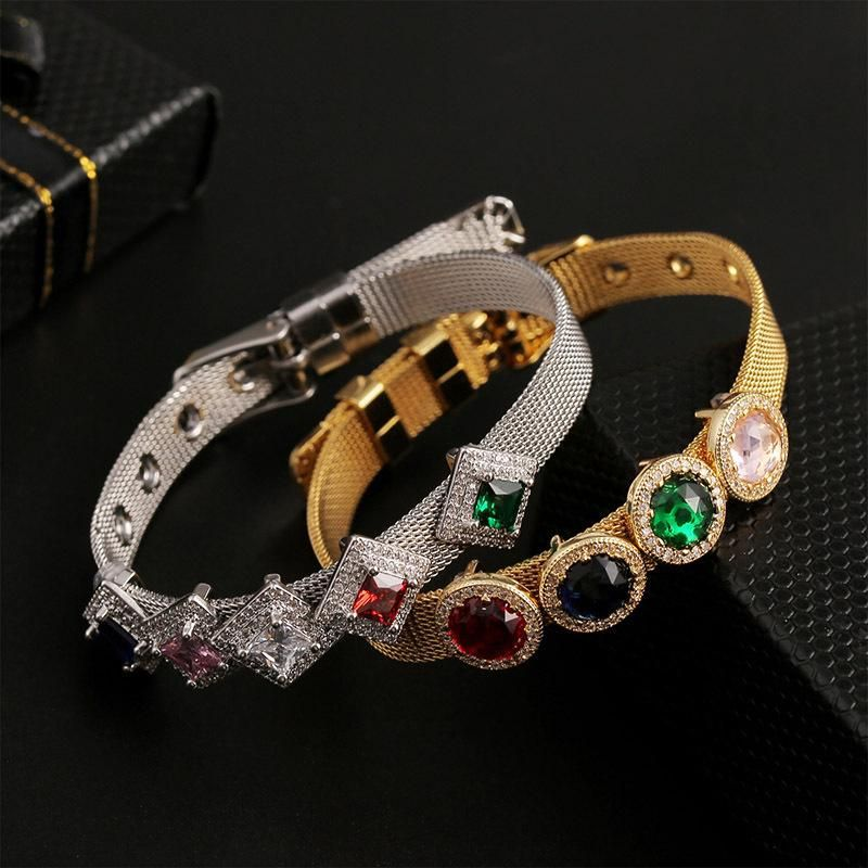 New fashion copper inlaid zirconium with hip-hop custom bracelet stainless steel wide bracelet wholesale NHLA211466