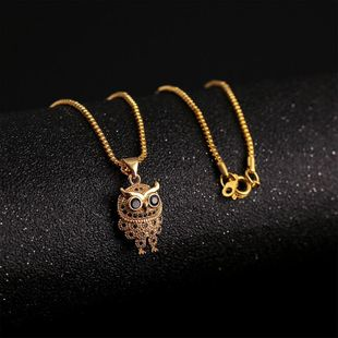 Simple copper inlaid zircon owl necklace nihaojewelry wholesale NHLA211469's discount tags