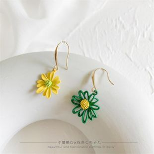 Korean New Fashion Hollow Spray Paint Asymmetrical Daisy Earrings NHLA211477's discount tags