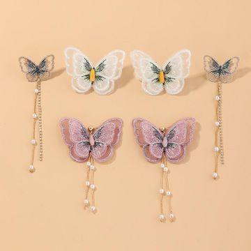 Nueva moda súper hadas de malla de gasa pendientes de mariposa pendientes de perlas al por mayor NHNZ211480
