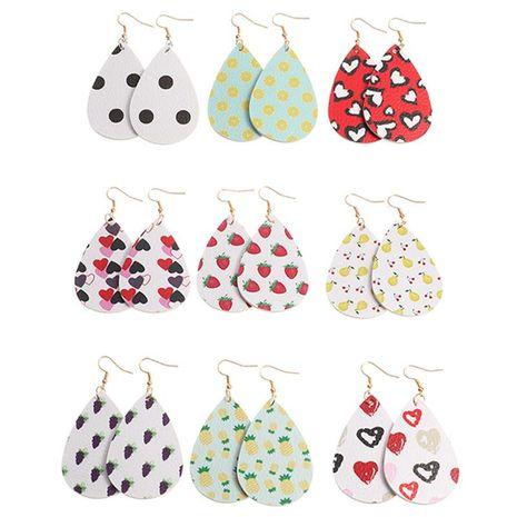 Nouveau mode simple PU boucles d'oreilles fruits en forme de goutte amour boucles d'oreilles en cuir double face NHNZ211481's discount tags