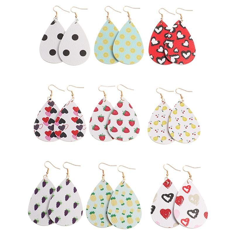 New fashion simple PU fruit earrings drop-shaped love double-sided leather earrings NHNZ211481