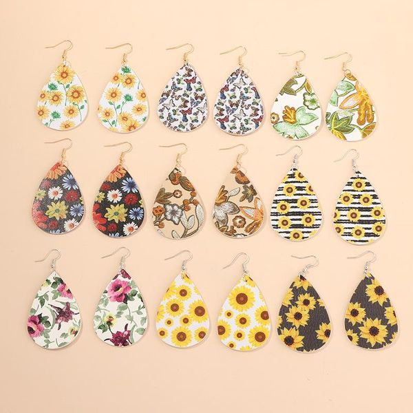 New fashion pu lychee print water drop leather earrings sunflower flower butterfly earrings NHNZ211482