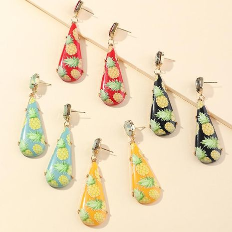 New fashion resin printing earrings fruit earrings drop-shaped pineapple earrings NHNZ211485's discount tags