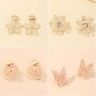 New fashion three-dimensional winding crystal double-layer flower diy earrings butterfly earrings NHNZ211490's discount tags