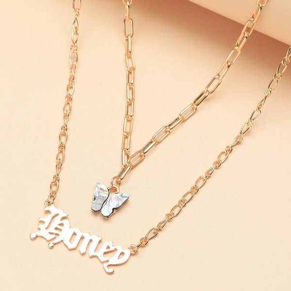 New fashion letter honey necklace natural abalone shell butterfly clavicle chain NHNZ211491