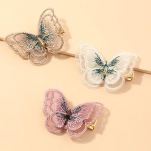 New headdress hand-embroidered butterfly hairpin duckbill clip Korea bangs clip nihaojewelry wholesale NHNZ211492's discount tags