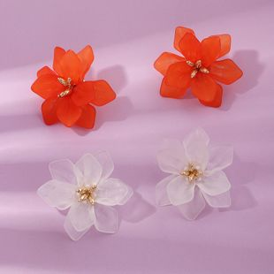 New fashion flower earrings retro petal color resin earrings NHNZ211510's discount tags