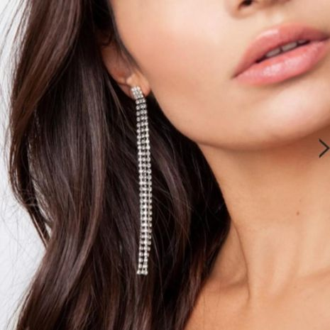New fashion retro tassel earrings studded with long diamond earrings NHNZ211518's discount tags