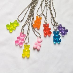 New fashion punk style bear necklace resin bear pendant wholesale NHNZ211520's discount tags