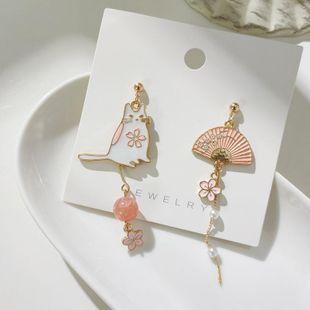 New fashion cat s925 silver earrings asymmetric tassel earrings wholesale NHXI211531's discount tags