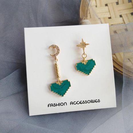 New fashion love simple wild earrings Xingyue mint green drop oil diamond earrings wholesale NHXI211534's discount tags