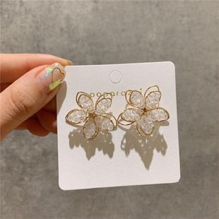 Korean new fashion hollow crystal flower earrings nihaojewelry wholesale NHXI211537's discount tags