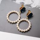 New fashion blue diamond screw ear clip white round pearl silver needle hollow pearl earrings NHOM211546