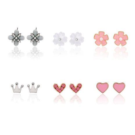 Coréen nouveau simple doux mignon fleur mini couronne boucles d'oreilles amour boucles d'oreilles en gros NHPF211552's discount tags