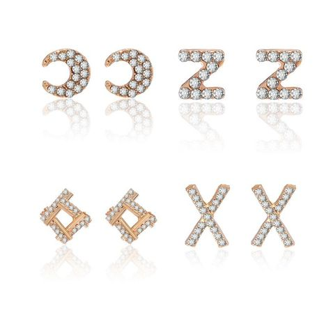 Coréen nouvelle mode alphabet boucles d'oreilles géométrique boucles d'oreilles plein diamant croix X oreille bijoux en gros NHPF211573's discount tags
