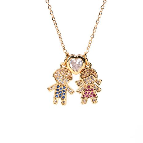 New fashion micro-set zircon boy and girl pendant necklace love necklace wholesale NHPY211577's discount tags