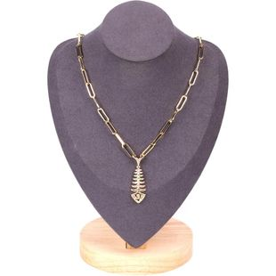 New fashion cross thick chain necklace micro-studded with diamond fish pendant necklace wholesale NHPY211580's discount tags