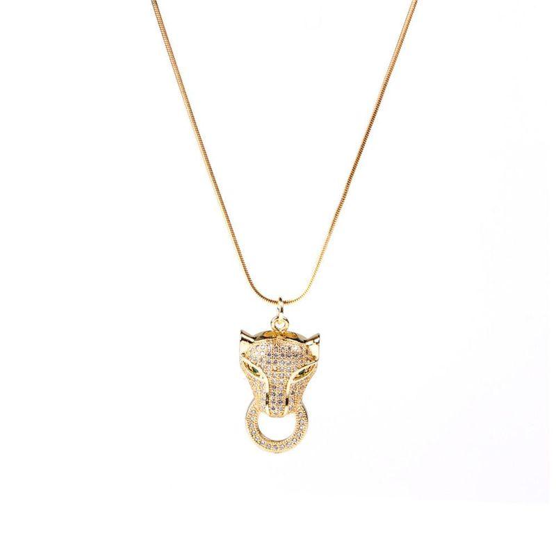 New fashion diamondset leopard head pendant necklace stainless steel snake bone necklace wholesale NHPY211581